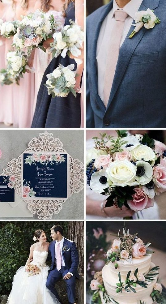 best wedding colors 2019 navy blue rose
